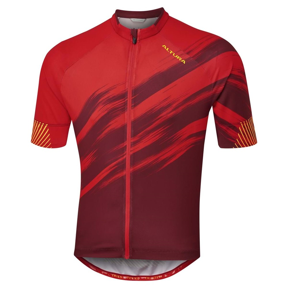 Altura Airstream Mens Short Sleeve Jersey In Red And Maroon