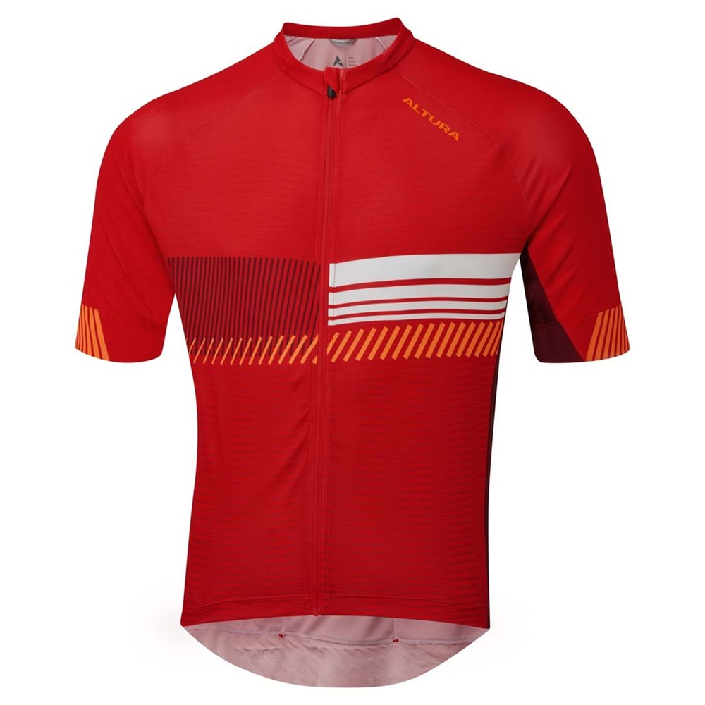 Altura Club Mens Short Sleeve Cycling Jersey In Red And Maroon
