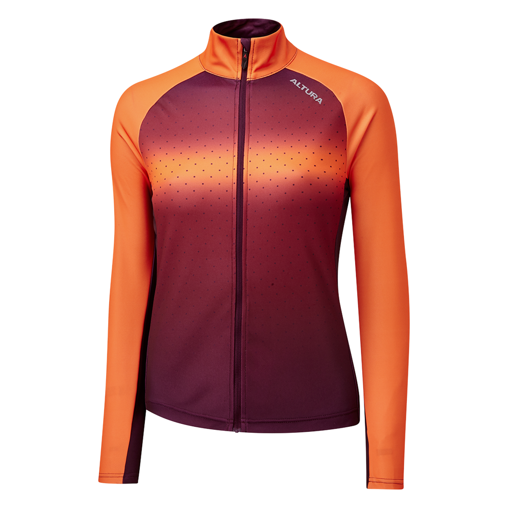 Altura Airstream Long Sleeve Womens Jersey In Orange And Maroon